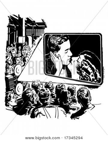 Crowd Watching A Movie - Retro Clip Art stock photo