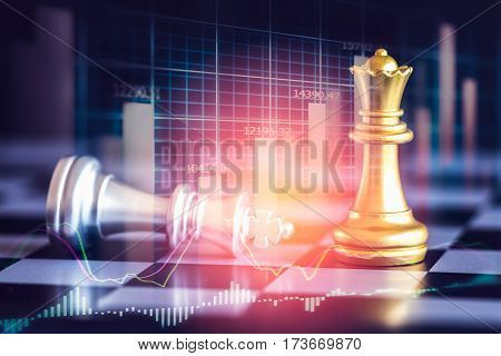 Business graph on chess board background. Digital business on LED. Business strategy. Business game concept. Business graph. Business Analysis. Business statistic. Business game background for all business advertising, business content. stock photo