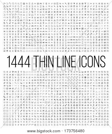 Exclusive 1444 thin line icons set. Big package of modern minimalistic pictograms for mobile UI/UX kit, infographics and web sites. High quality logistics, cruise, contact, cinema and other signs