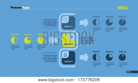 Three options flowchart slide template. Business data. Structure, diagram, design. Creative concept for infographic, presentation. Can be used for topics like management, strategy, planning.
