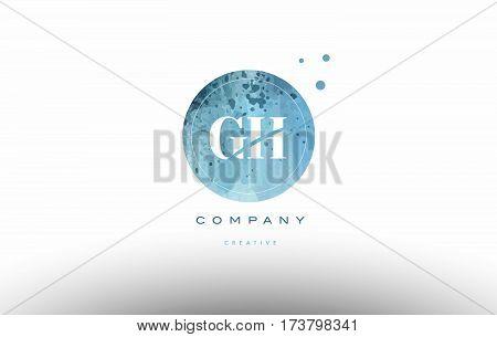gh g h watercolor grunge vintage alphabet company letter combination logo circle design vector icon template stock photo