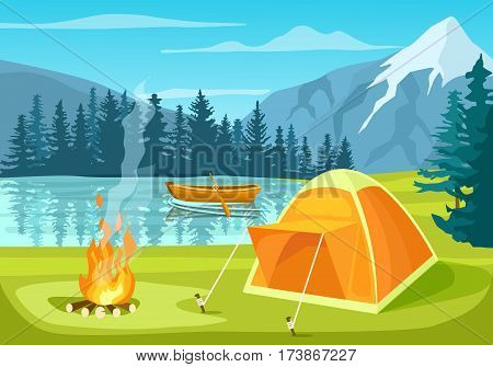 Summer tourist camp in forest near lake vector. Campfire and tourist tent on river bank. Camping and hiking, summer vacation outdoor, adventure travel, mountain landscape in cartoon style. Summer camping with tent. Cartoon camping concept.