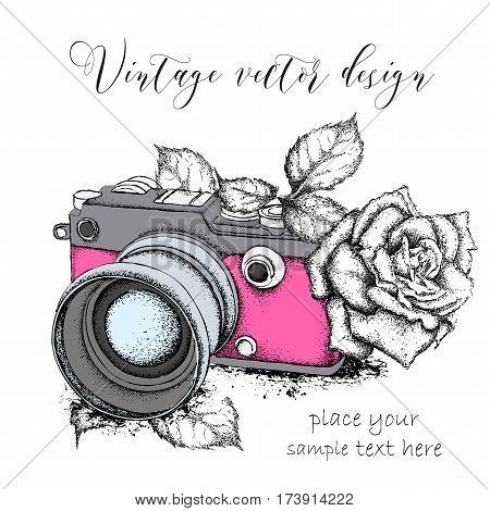 Hand drawn vintage camera with roses. Vector illustration stock photo