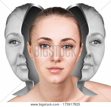 Female face before and after facial rejuvenation or plastic surgery. Anti-aging concept. stock photo