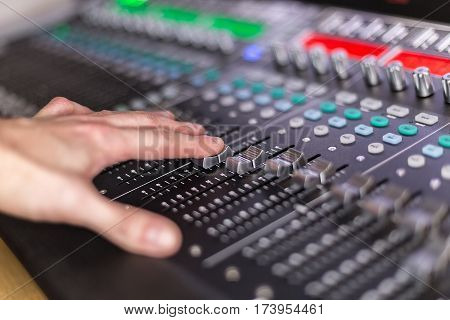 Large panel of the Hi-End stage controller with touch screens - closeup background stock photo