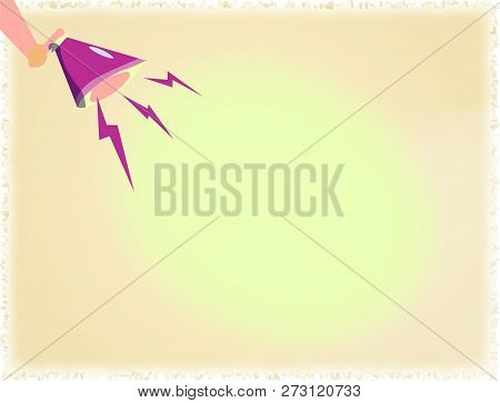 Flat design business Vector Illustration concept Empty template copy space text for Ad website esp isolated 3d isometric Human Hand Holding Megaphone Downward with Lightning Sound Effect Icon stock photo