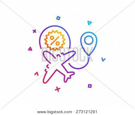 Flight sale line icon. Shopping discount sign. Clearance symbol. Gradient line button. Flight sale icon design. Colorful geometric shapes. Vector stock photo