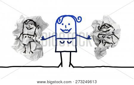 Cartoon Strong Woman Putting Away Paper Dumblings with other Girls stock photo