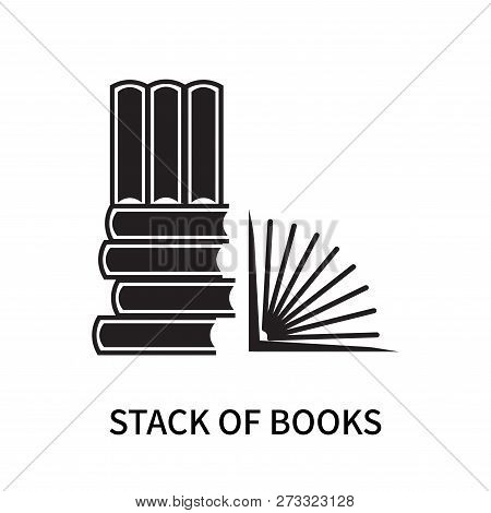 Stack of books icon isolated on white background. Stack of books icon simple sign. Stack of books icon trendy and modern symbol for graphic and web design. Stack of books icon flat vector illustration for logo, web, app, UI. stock photo