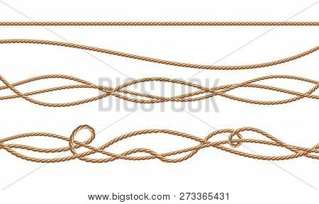 3d realistic fiber ropes - straight and tied up. Jute or hemp twisted cords with loops isolated on white background. Decorative elements with brown packthread. stock photo