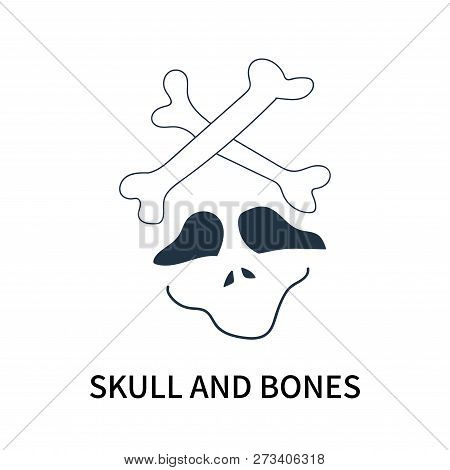Skull and Bones icon isolated on white background. Skull and Bones icon simple sign. Skull and Bones icon trendy and modern symbol for graphic and web design. Skull and Bones icon flat vector illustration for logo, web, app, UI. stock photo