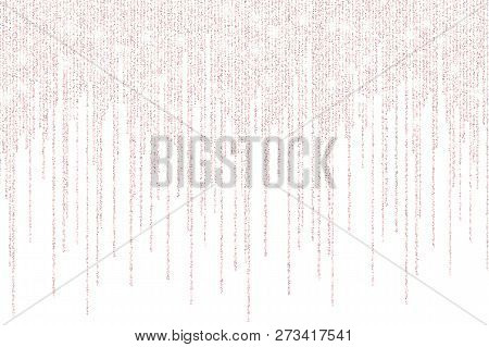 Vector Falling In Lines Gold Rose Glitter Confetti Dots Rain. Pink Garland Lights Isolated On White