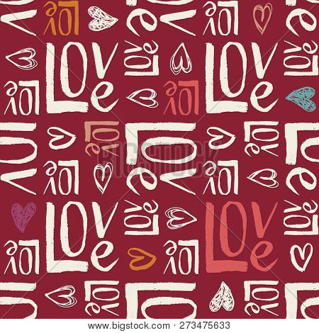 Hand Written Retro Colors Valentines Day Typography vector seamless pattern. Hand Drawn Doodle Hearts and Word Love. Cute Graffity. Colorful Letters on Dark Background. Girly Feminine Print stock photo