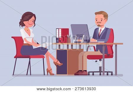 Management meeting for giving information or instructions. Male boss, attractive female secretary at daily business briefing, office helper assists, gets tasks. Vector flat style cartoon illustration stock photo