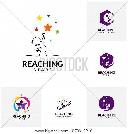 Set of Reaching Stars Logo Design Template. Dream star logo. Emblem, Colorful, Creative Symbol, Icon stock photo