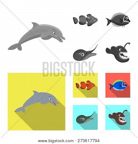 Vector design of sea and animal logo. Set of sea and marine vector icon for stock. stock photo