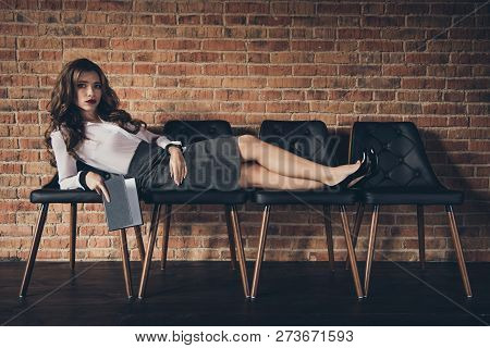 Nice attractive alluring charming elegant slim wavy-haired lady executive manager long legs lying on chairs holding diary at work place station brick wall stock photo