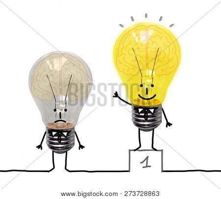 Funny Cartoon Light Bulbs with Brains - Collage stock photo