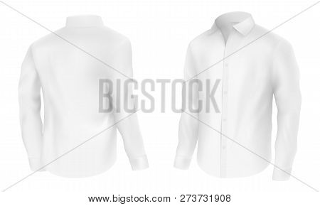 Mens white shirt with long sleeves half turn, front and back view realistic vector illustration isolated on white background. Casual classic clothing element for modern detergent advertising design stock photo
