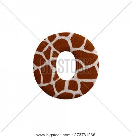 Giraffe letter O - Lowercase 3d Giraffe fur font isolated on white background. This alphabet is perfect for creative illustrations related but not limited to Safari, Wildlife, Africa... stock photo