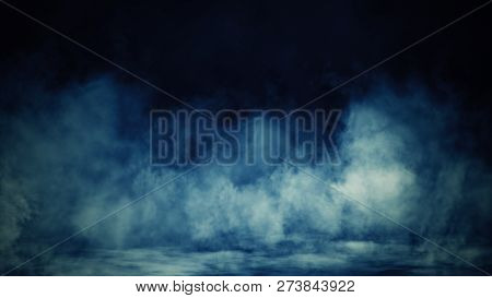 Colorful Smoke On Floor . Isolated Black Background . Misty Fog Effect Texture Overlays For Text Or
