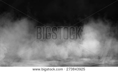 Smoke On Floor . Isolated Black Background . Misty Fog Effect Texture Overlays For Text Or Space