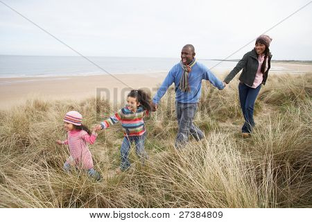 Black Family on a beach stock photo