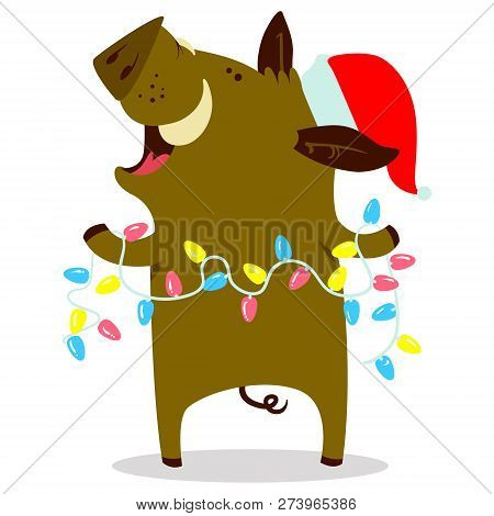 Cute Boars Or Warthog Character With Christmas Garland Vector