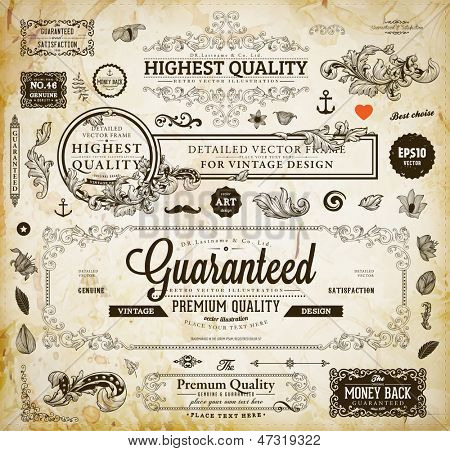 Vector Set Of Calligraphic Design Elements Page Decoration Premium Quality And Satisfaction Guaran