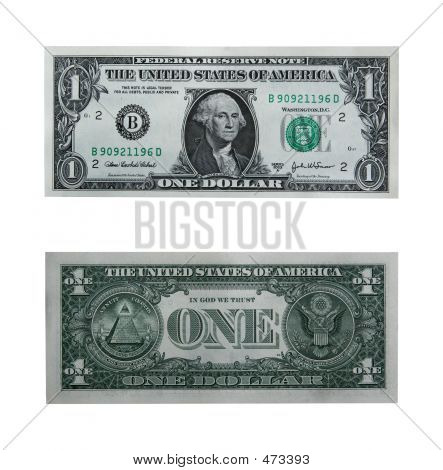both sides of the one dollar bill isolated on white with cllipping path stock photo