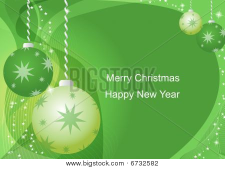 green new year card with green  toys stock photo