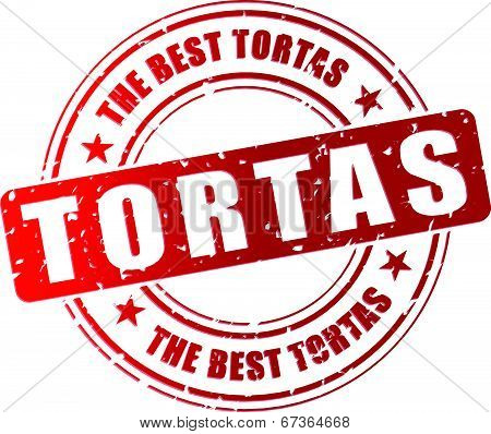 Vector illustration of best tortas red stamp concept stock photo