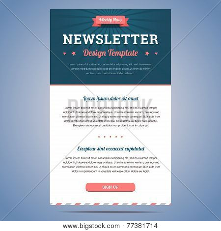 Newsletter design template for weekly company news with header and sign up button. Vector illustration. stock photo