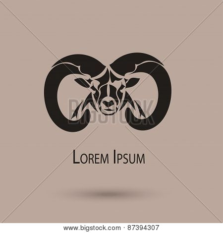 2015 Chinese New Year of the Ram Head Black Silhouette. Vector Illustration stock photo