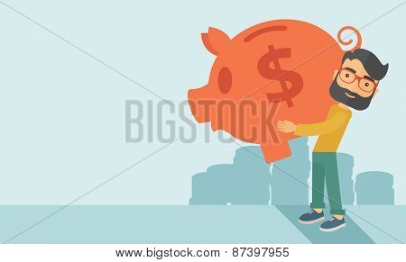 Businessman carries on his two arms his enormous piggy bank for economy purposes sparing cash is exc
