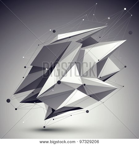 Asymmetric 3D abstract object with lines and dots over dark background. stock photo
