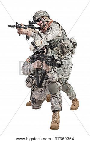 United States paratroopers airborne infantry studio shot on white background stock photo