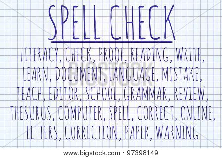 Spell check word cloud written on a piece of paper stock photo