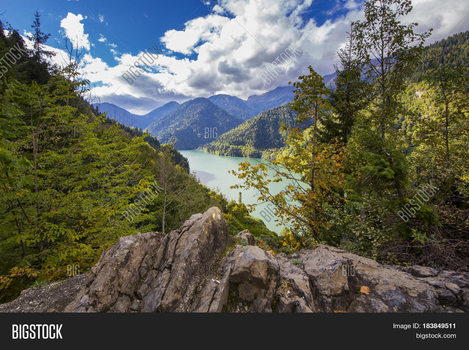 abkhazia,apsny,azure,background,beauty,blue,calm,caucasus,clouds,colorful,deep,environment,forest,green,high,hill,lake,landscape,mountains,nature,outdoor,pacification,peace,quiet,reflection,relaxing,ritsa,scene,season,serenity,sky,summer,tourism,tranquility,trees,turquoise,view,water
