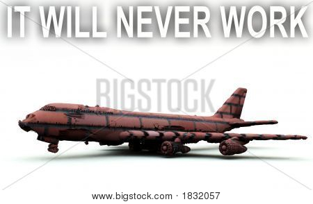 A impossible and impractical plane that is made out of bricks with the caption it will never work. stock photo