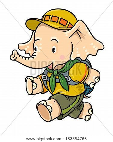 Scout. Funny running baby elephant with backpack. Children vector illustration. Funny cartoon character. Hiking recreation tourism. Adventure camping