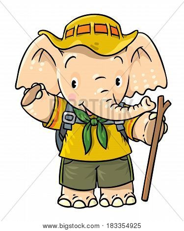 Scout. Funny baby elephant with backpack and stick. Children vector illustration. Funny cartoon character. Hiking recreation tourism. Adventure camping