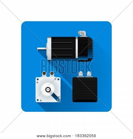 vector colored flat design servo electric motor different angles illustration icon long shadow rounded square background. stock photo