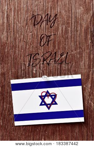 the text day of israel and an israeli flag with a heart drawn in it pinned with a push-pin to a rust-Lg Fridge Magnet Skin (size 36x65)