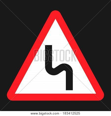 Dangerous double bend sign flat icon, Traffic and road sign, vector graphics, a solid pattern on a black background, eps 10 stock photo