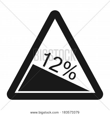 Steep descent sign line icon, Traffic and road sign, vector graphics, a solid pattern on a white background, eps 10 stock photo