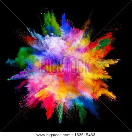 Explosion of colored powder, isolated on black background. Power and art concept, abstract blast of