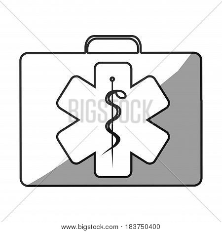 grayscale silhouette with first aid kit with star of life logo vector illustration stock photo