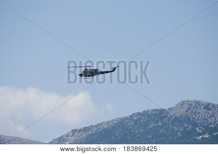 Black hawk helicopter rescue team fly blue sky stock photo
