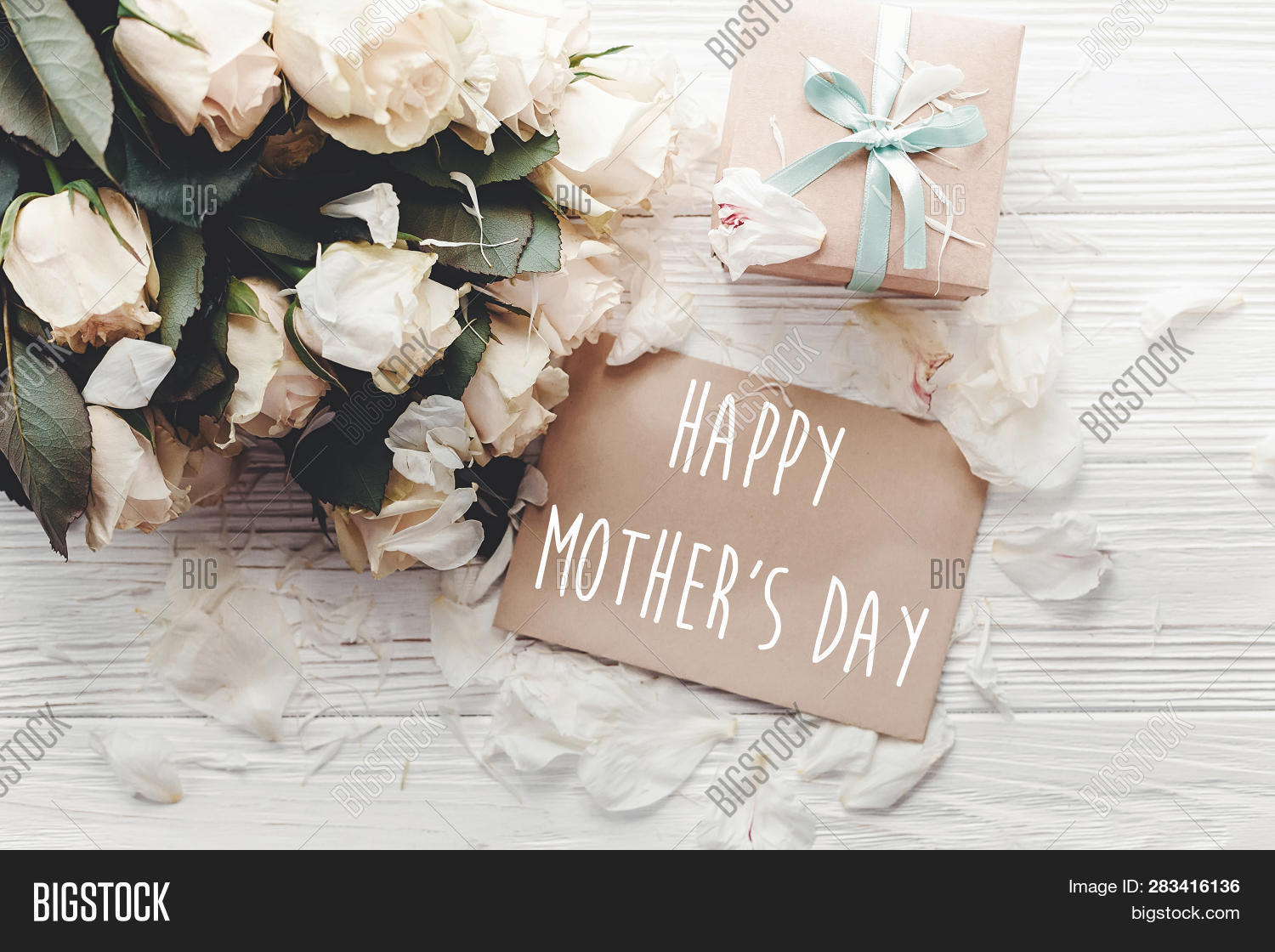 Happy Mother's Day Text Sign On Craft Greeting Card And White Roses Bouquet, Gift Box On Wooden Back
